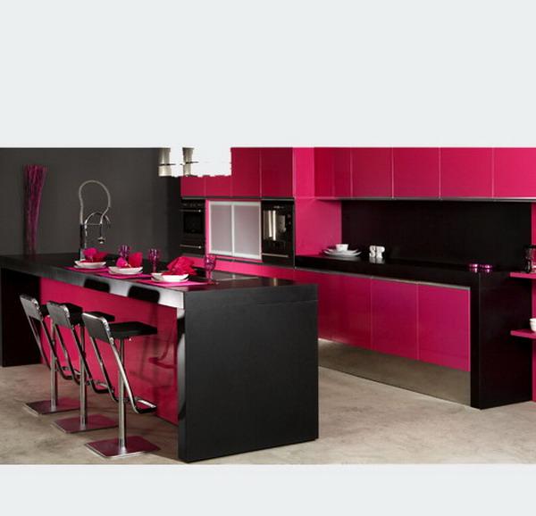 تصميم مطبخ بينك و أسود