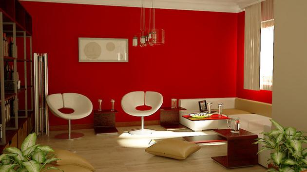 غرفة معيشة لونها احمر | المرسال