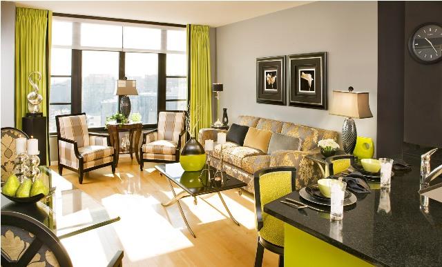غرف جلوس بالوان زاهية مع طاولة طعام | المرسال