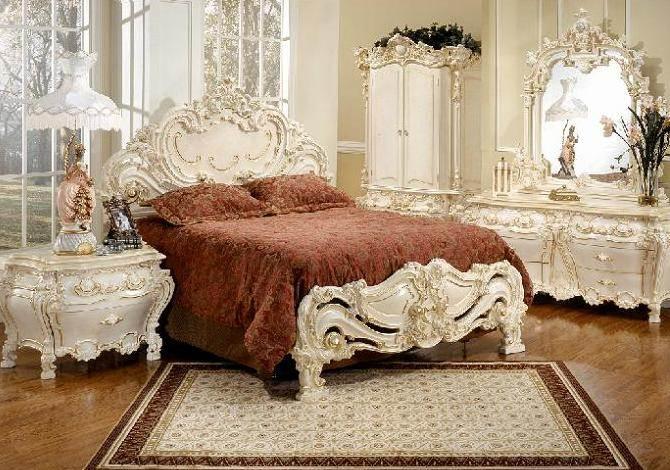 اثاث منقرش غرف نوم فرنسيه بدقة عالية | المرسال