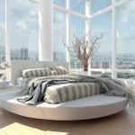 سرير دائري بغرف النوم الانيقة