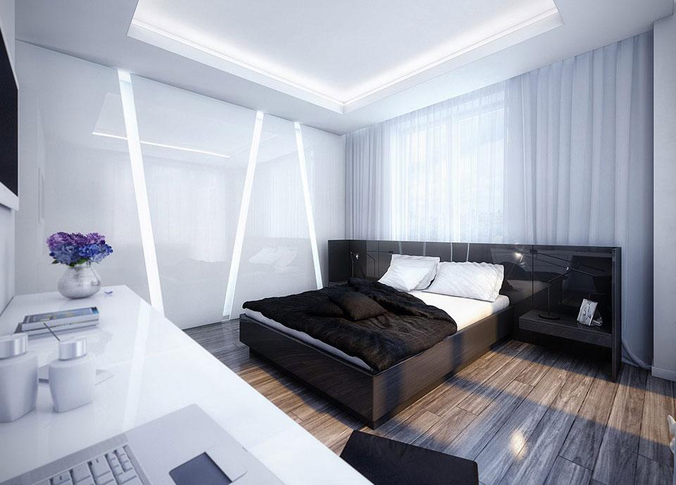 غرف نوم باللون الاسود والابيض