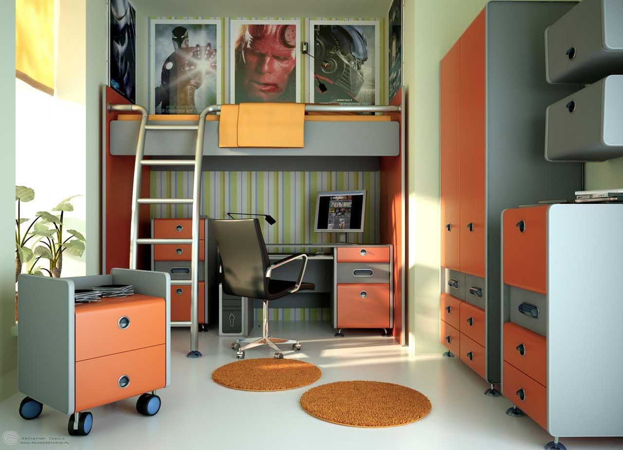 اللون الاورانج بغرف المراهقين