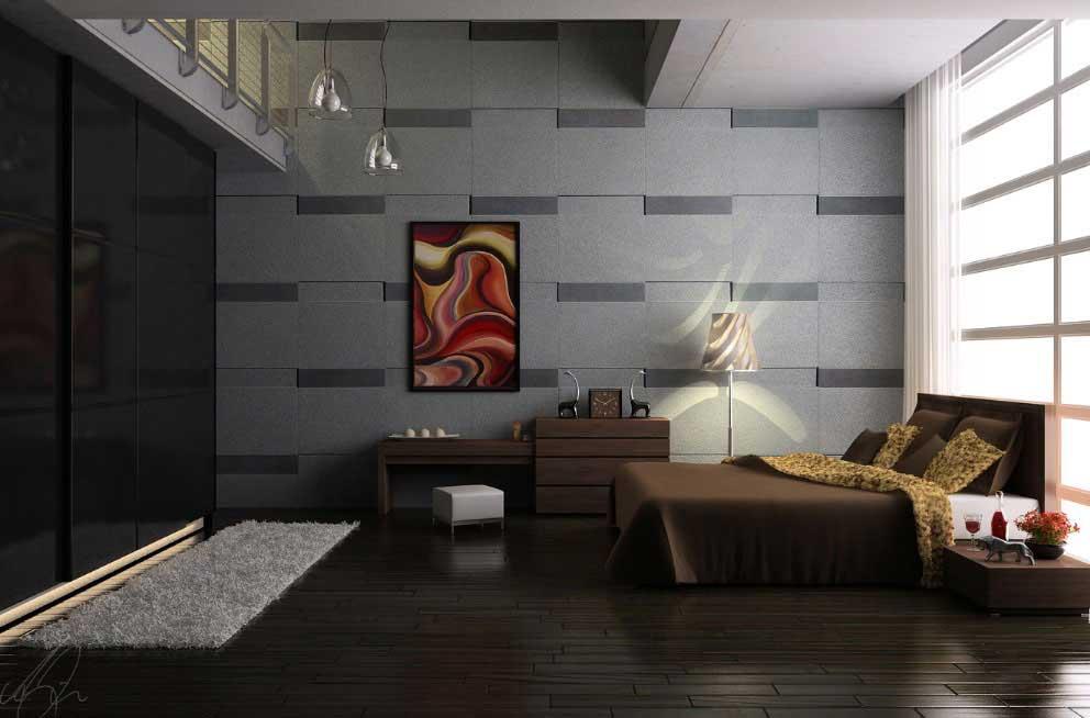 جدران غرف نوم باللون الرمادي