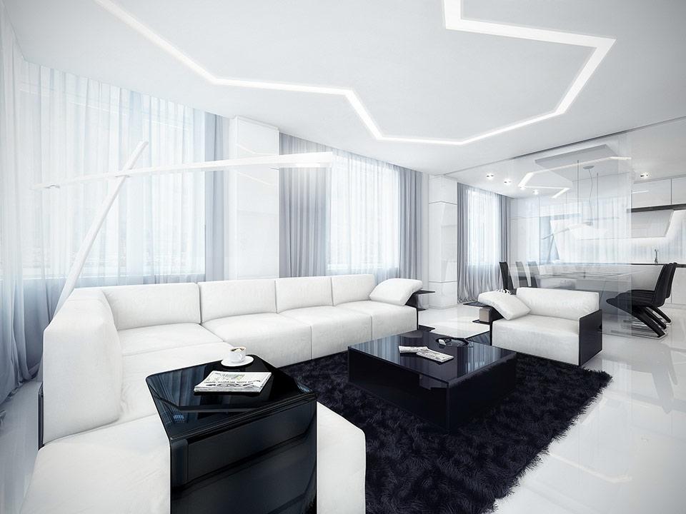 غرف جلوس باللون الابيض والاسود
