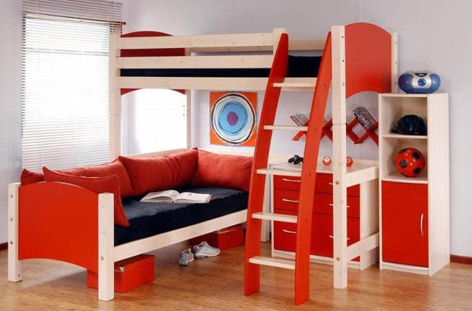 اللون الاحمر بغرف الاطفال