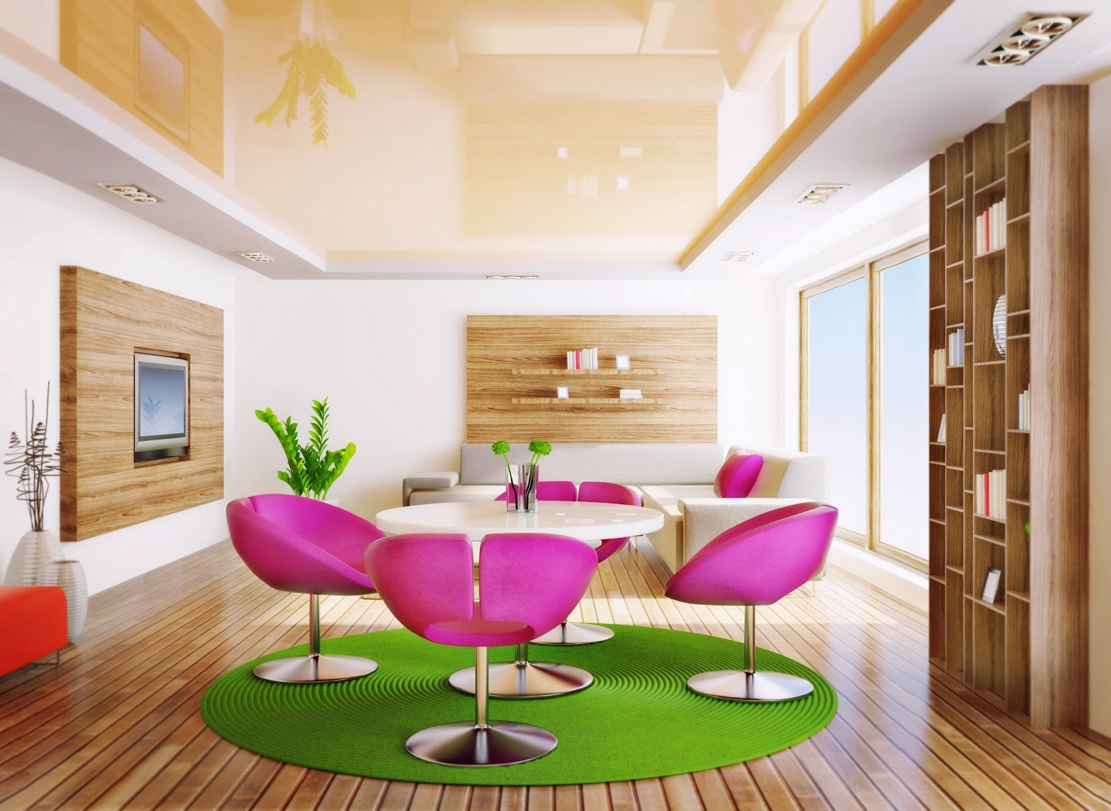 كراسي باللون الوردي بغرف الطعام