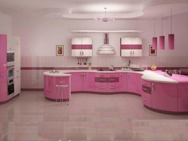 مطابخ باللون الوردي