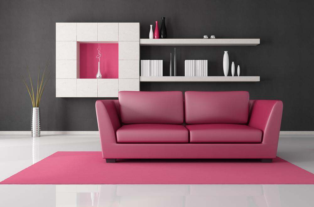 اريكة باللون الوردي
