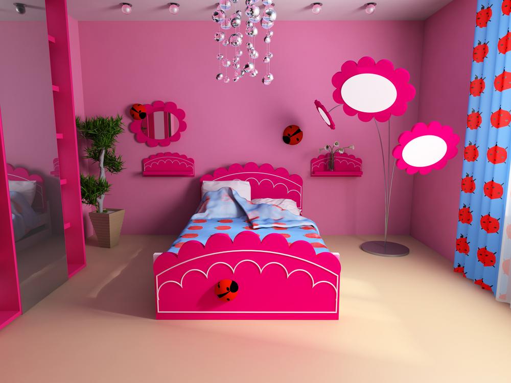 تصاميم غرف اطفال باللون الوردي