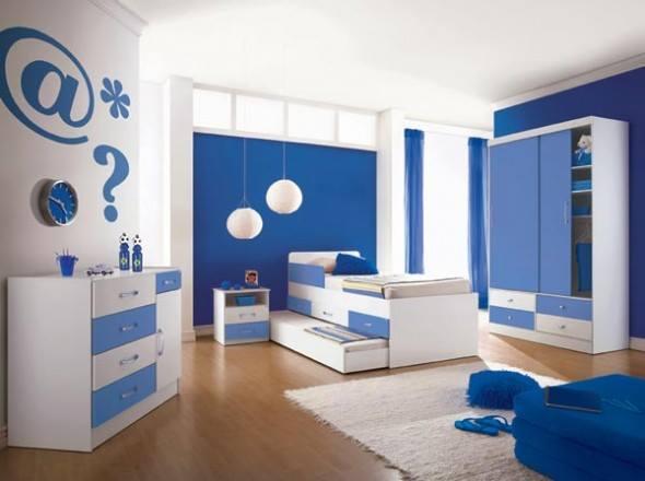 غرف نوم الاطفال بلون ازرق وابيض | المرسال