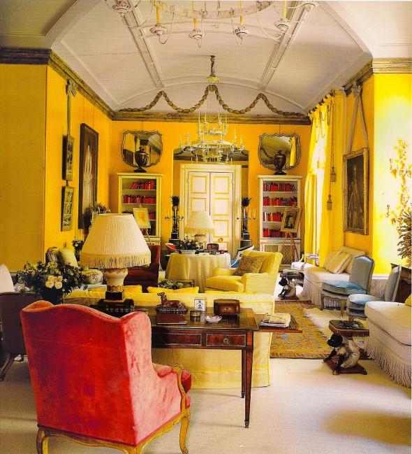 جدران اصفر زاهي غرف جلوس روعة