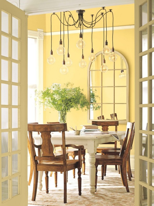 ديكور بلون اصفر لغرف الطعام بمنزلك