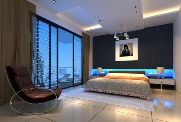 ديكور اضاءة غرف نوم بلون ازرق