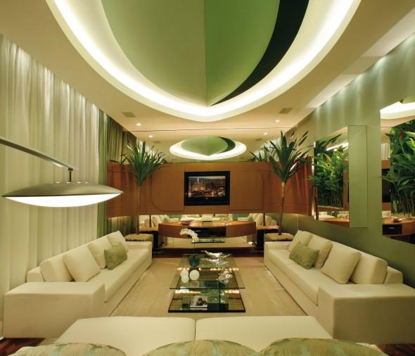 غرف الجلوس الفخمة بلون تفاحي وكريمي