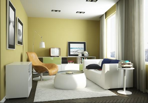 غرفة الجلوس بجدران لونها اصفر