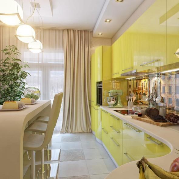 مطبخك بلون اصفر لامع