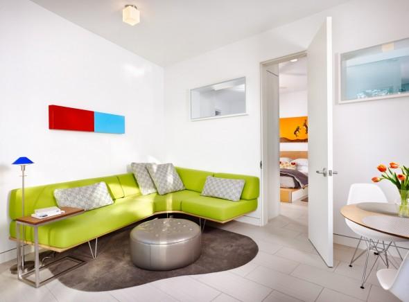 كنب متصل لون تفاحي بغرف الجلوس العصرية