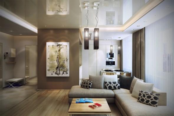 تصميم غرفة جلوس جميلة بكنب متصل