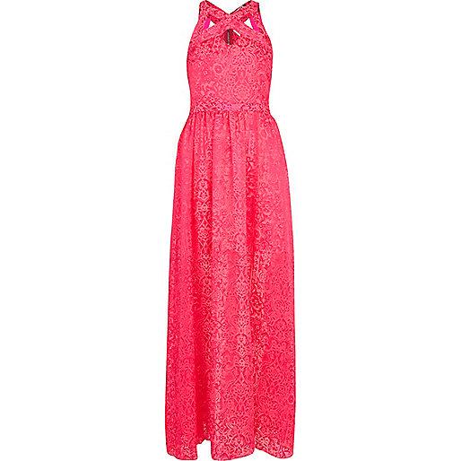 فستان وردي سادة