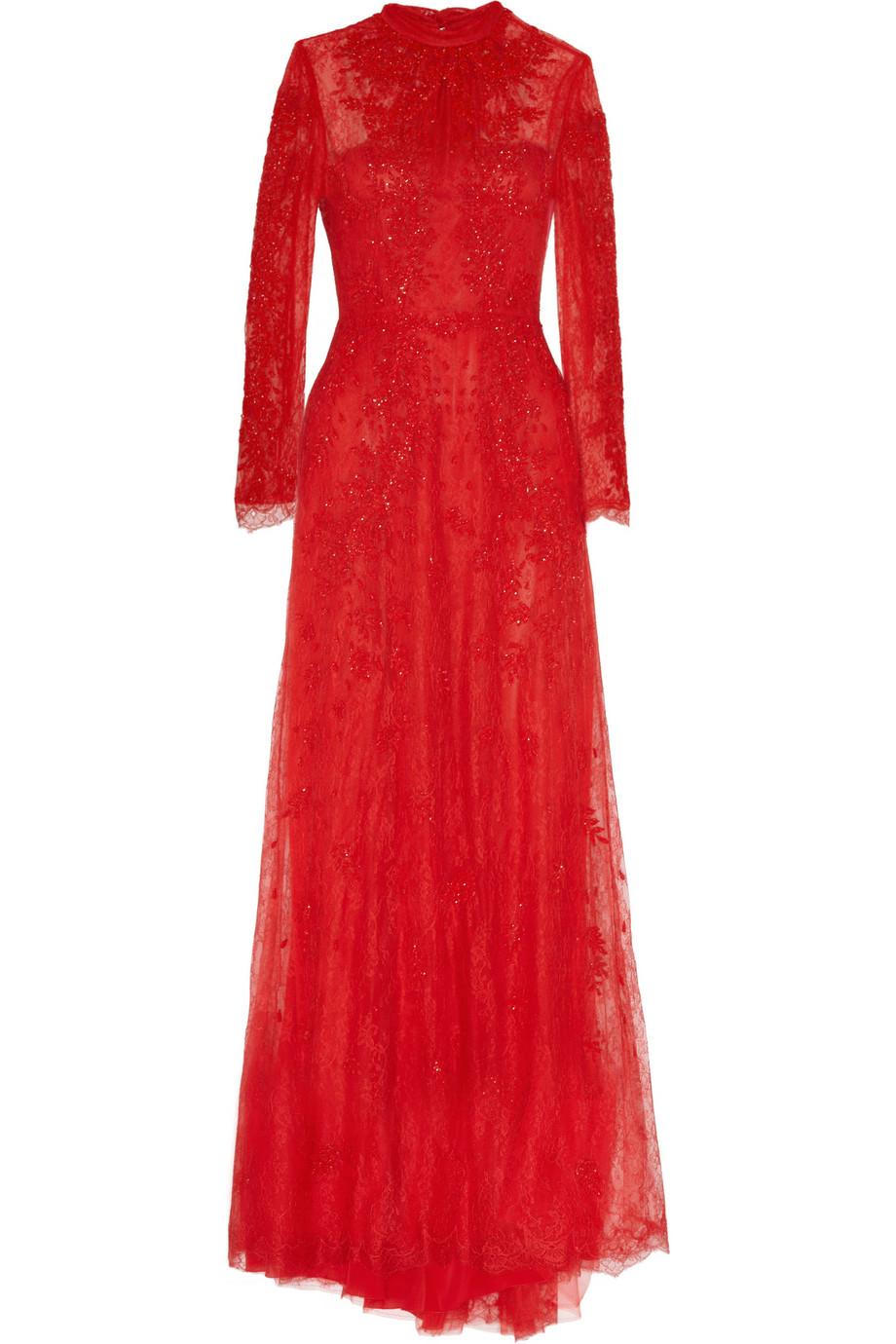 91a02a5d49a1b فستان دانتيل أحمر من فلانتينو valentino