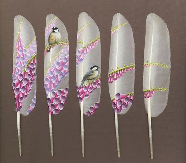 غرائب اللوحات الفنية على ريش البجع