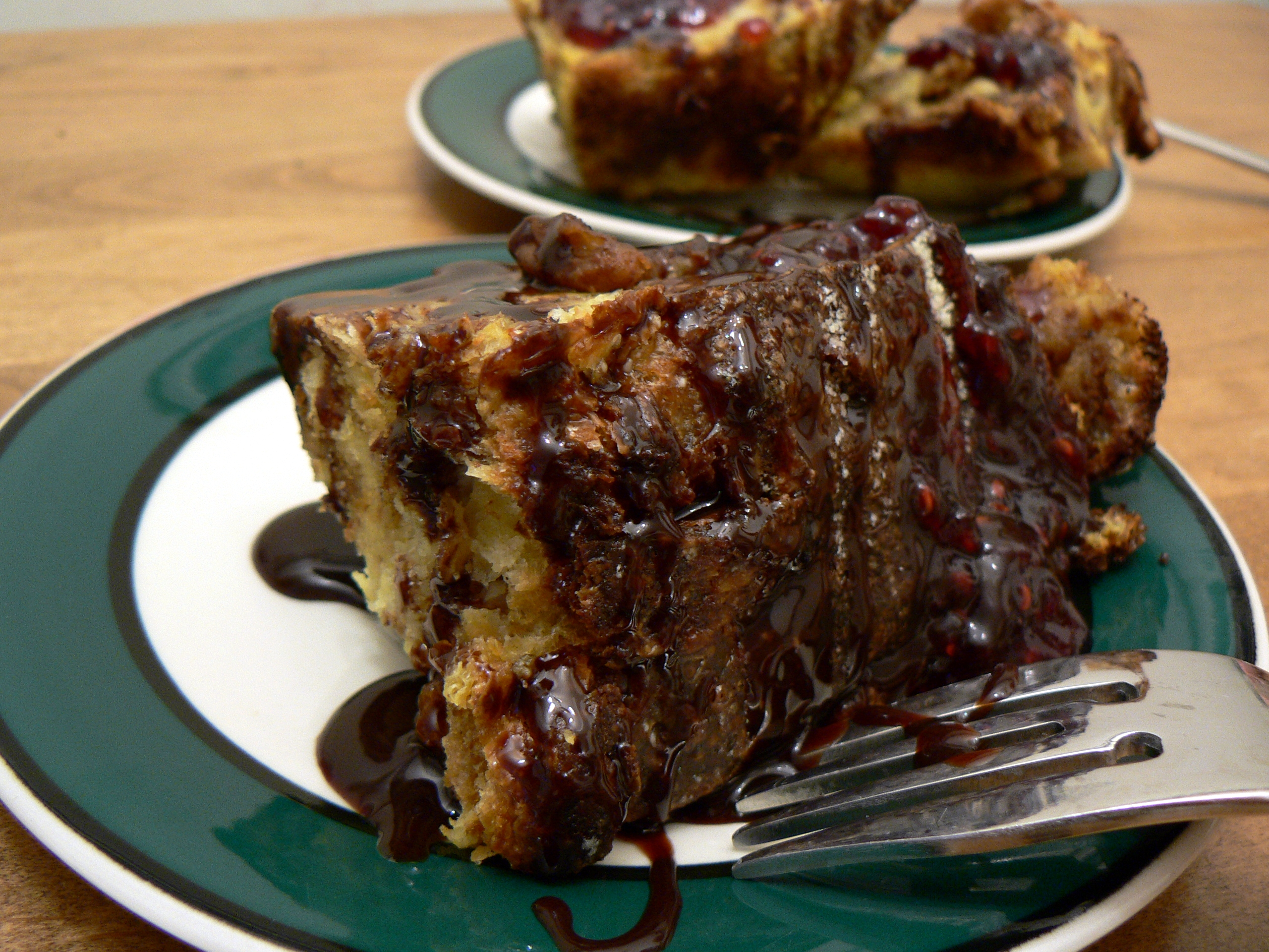 Croissant bread pudding with chocolate sauce