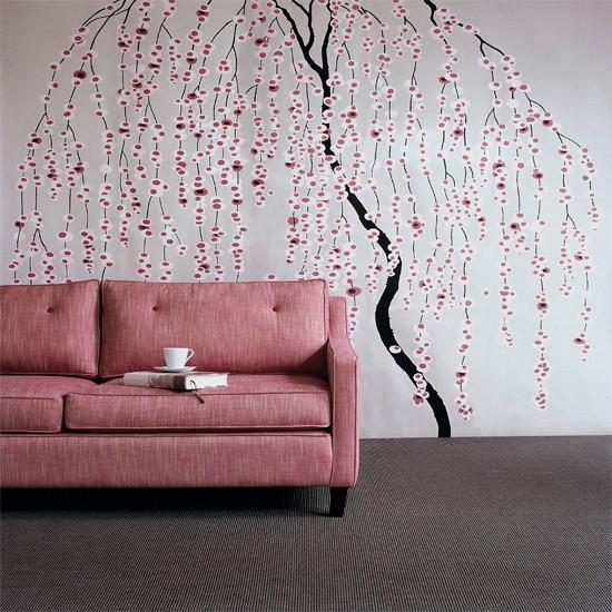 Floral stencil living room