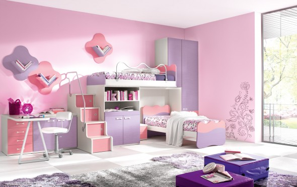 غرف نوم بنات مميزة بالوان