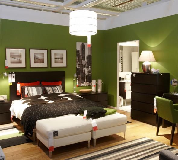 جدران لون اخضر غرف نوم