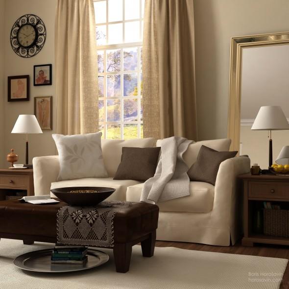 ستائر جميلة بغرفة معيشة بسيطة