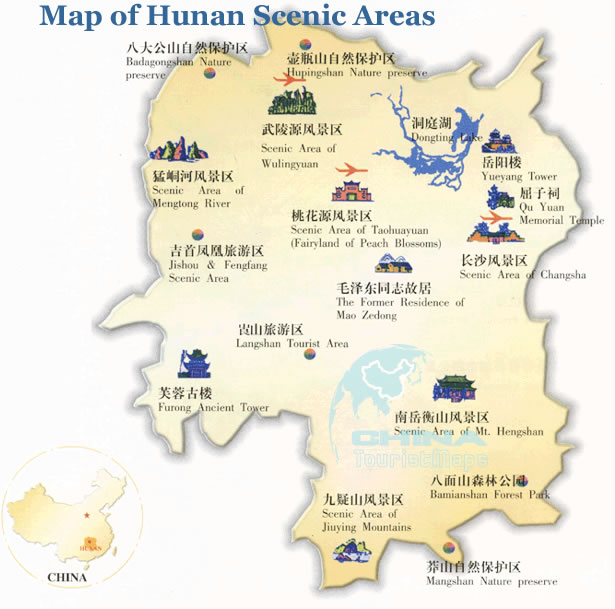 Map of Hunan Scenic Areas