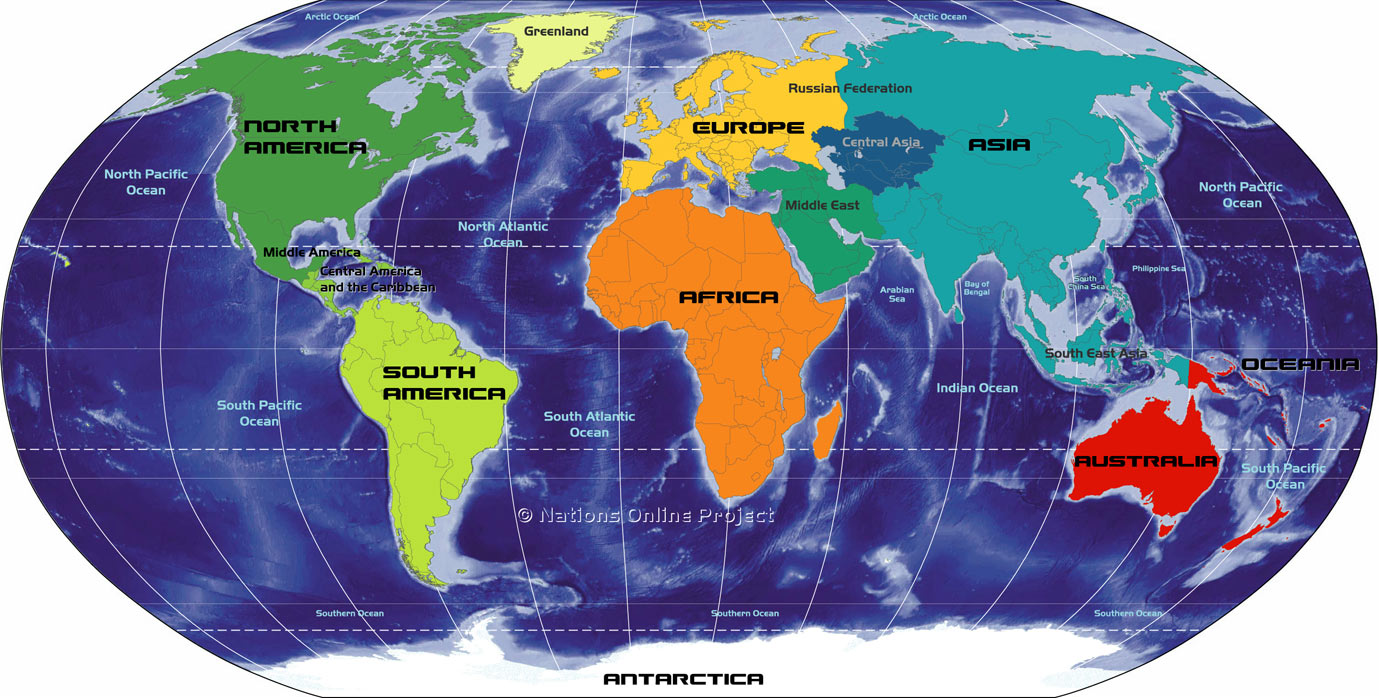 Map of the Continents and Regions
