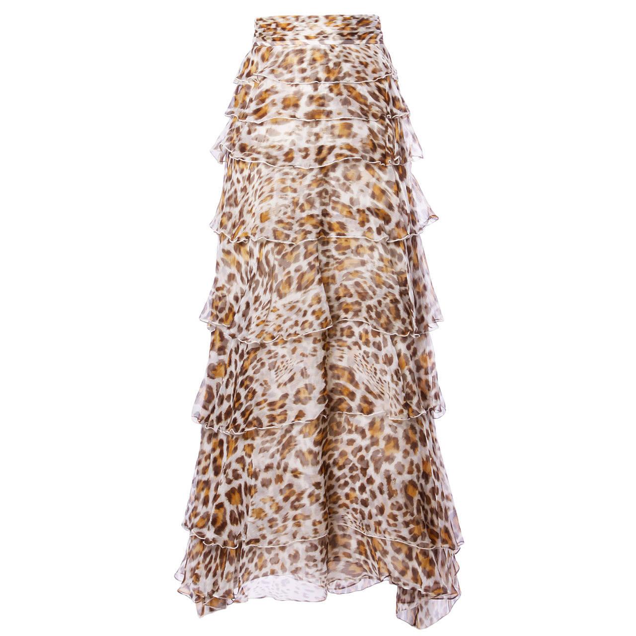 51a0e668a93a2 Silk Chiffon Leopard Print Maxi Skirt