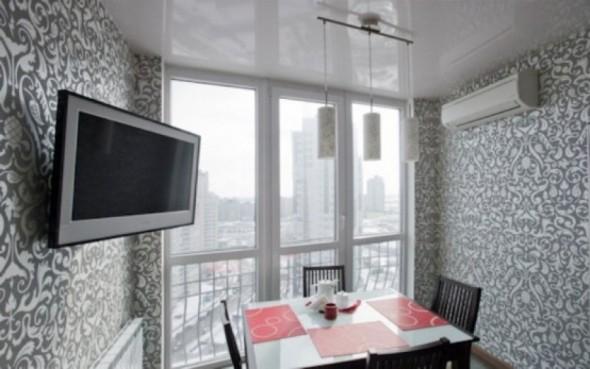 لون رمادي ورق جدران غرف طعام
