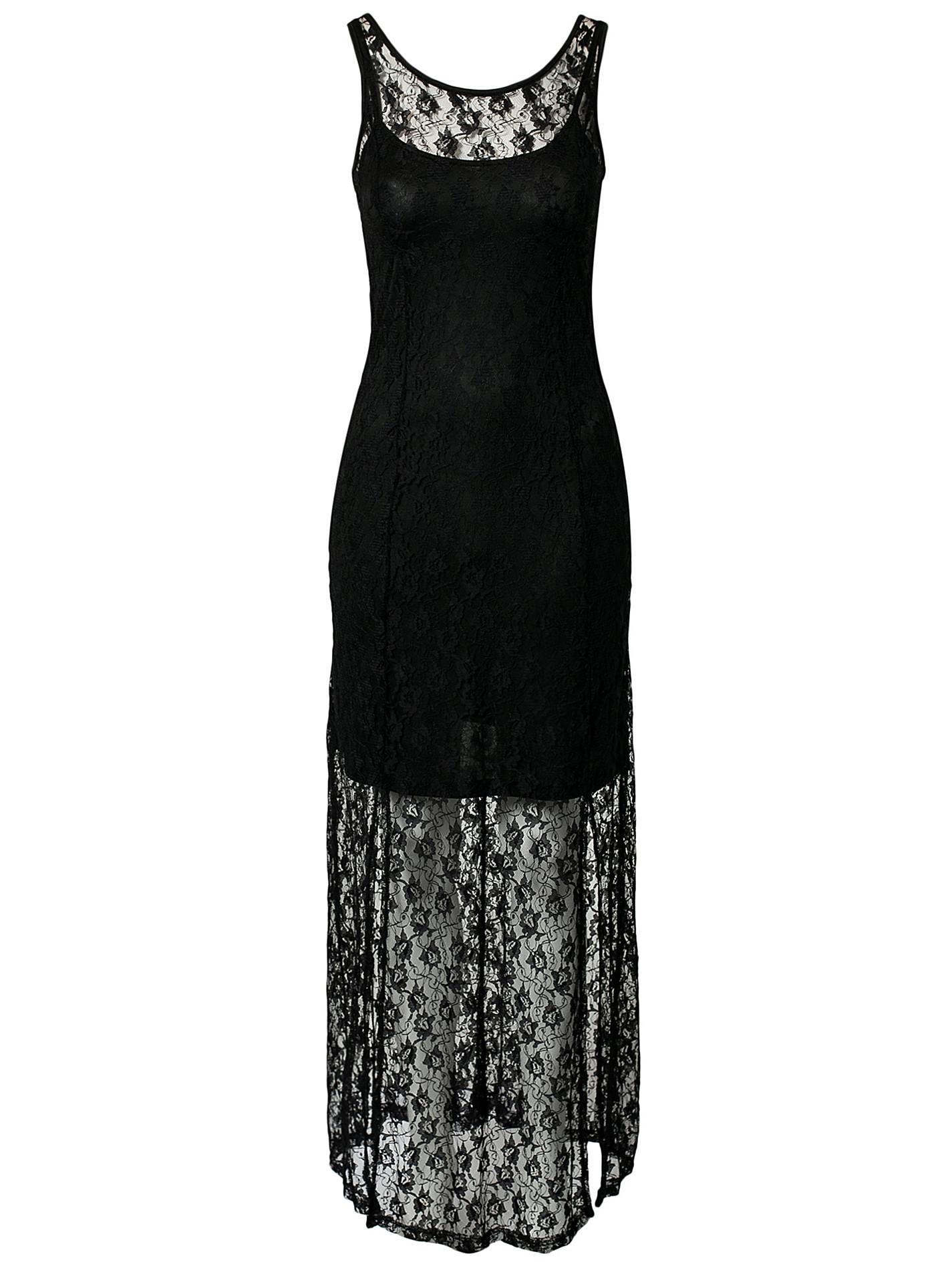 dec4739914c8d فستان دانتيل طويل أسود