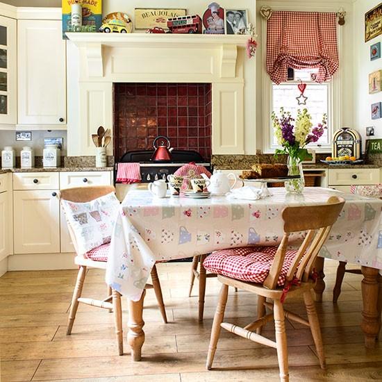 Red Flooring Kitchen: Cream Kitchen With Red Tiles
