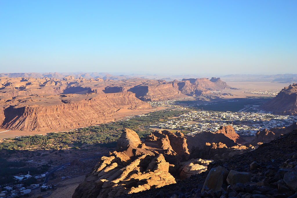 A view of the city of Al-Ula and show the surrounding mountains