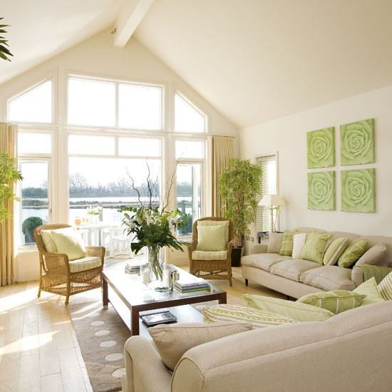 Cream And Green Living Room