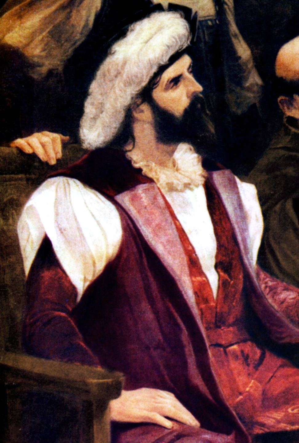 Half-length painted portrait of a bearded man