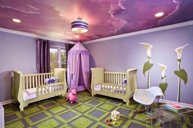 اللون الموف لتزيين اسقف غرف الاطفال | المرسال