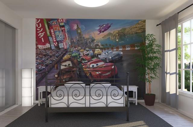ورق جدران برسمات كرتون السيارات المحبب للاطفال