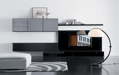 طاولات تلفزيون رائعة باللون الابيض والاسود