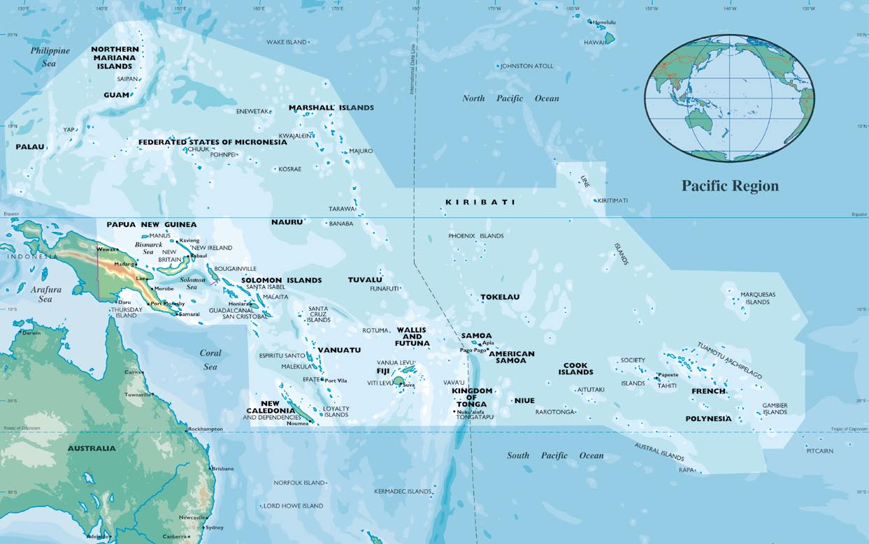 The Pacific islands region map