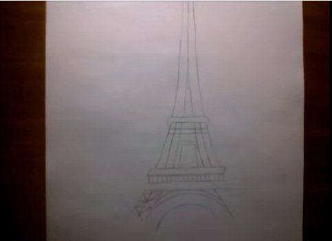 شرح كيفية رسم برج ايفل بقلم الرصاص المرسال