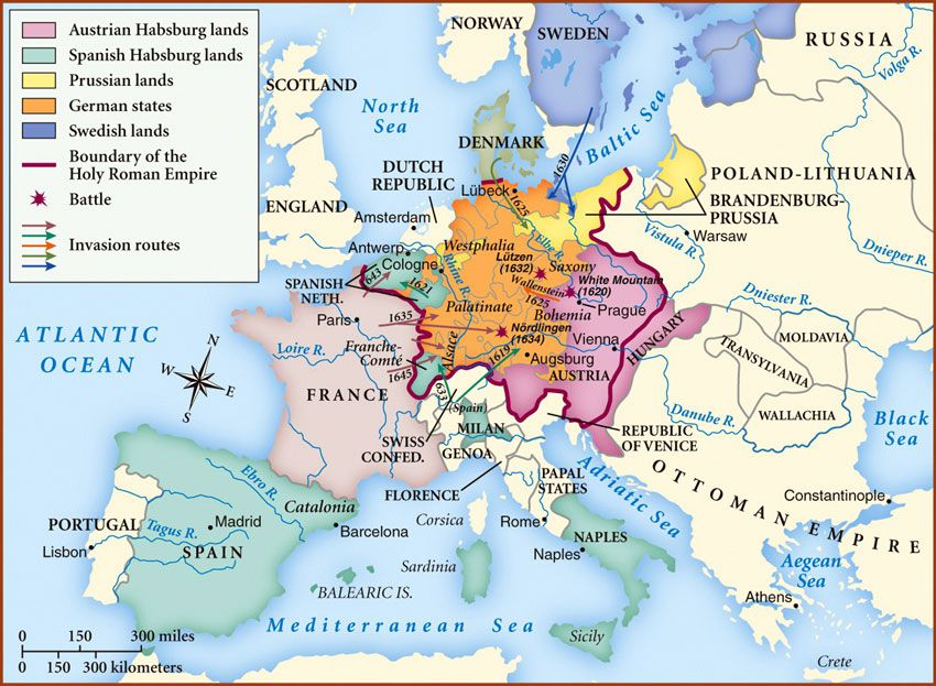 map of the thirty years' war