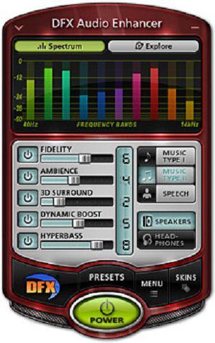 واجهة البرنامج DFX Audio Enhancer