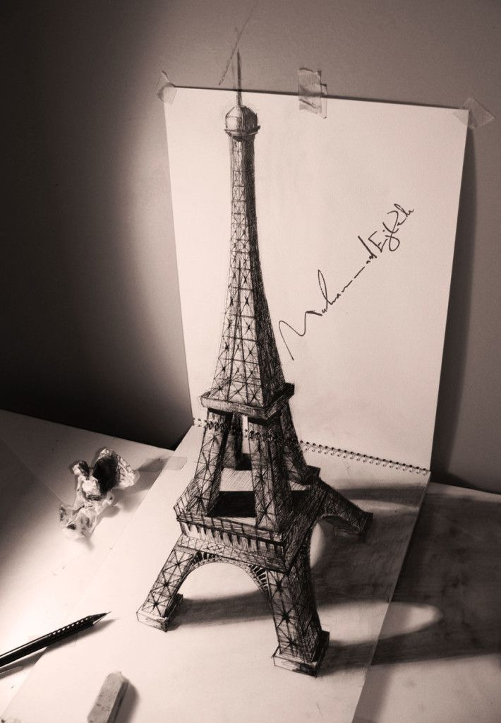 eiffel tower in Pencil Drawing