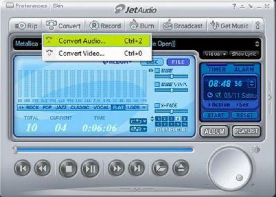 واجهة برنامج جيت اوديو مشغل الصوتيات والفيديو