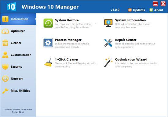 واجهة برنامج Windows 10 Manager